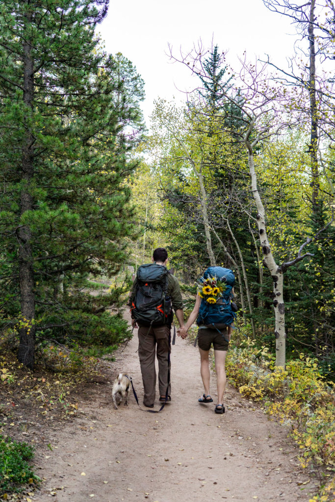 Man and woman with hiking backpacks and a pug walking down a mountain trail.