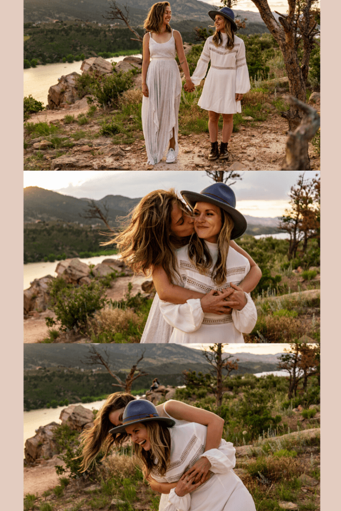 Three images of two women in flowy white dresses together at sunset in Horsetooth Reservoir in Colorado.