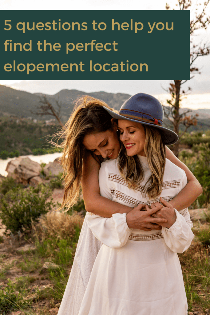 Two women in white hugging and smiling happily in this beautiful sunset elopement shoot in Colorado by Gabby Jockers Photography