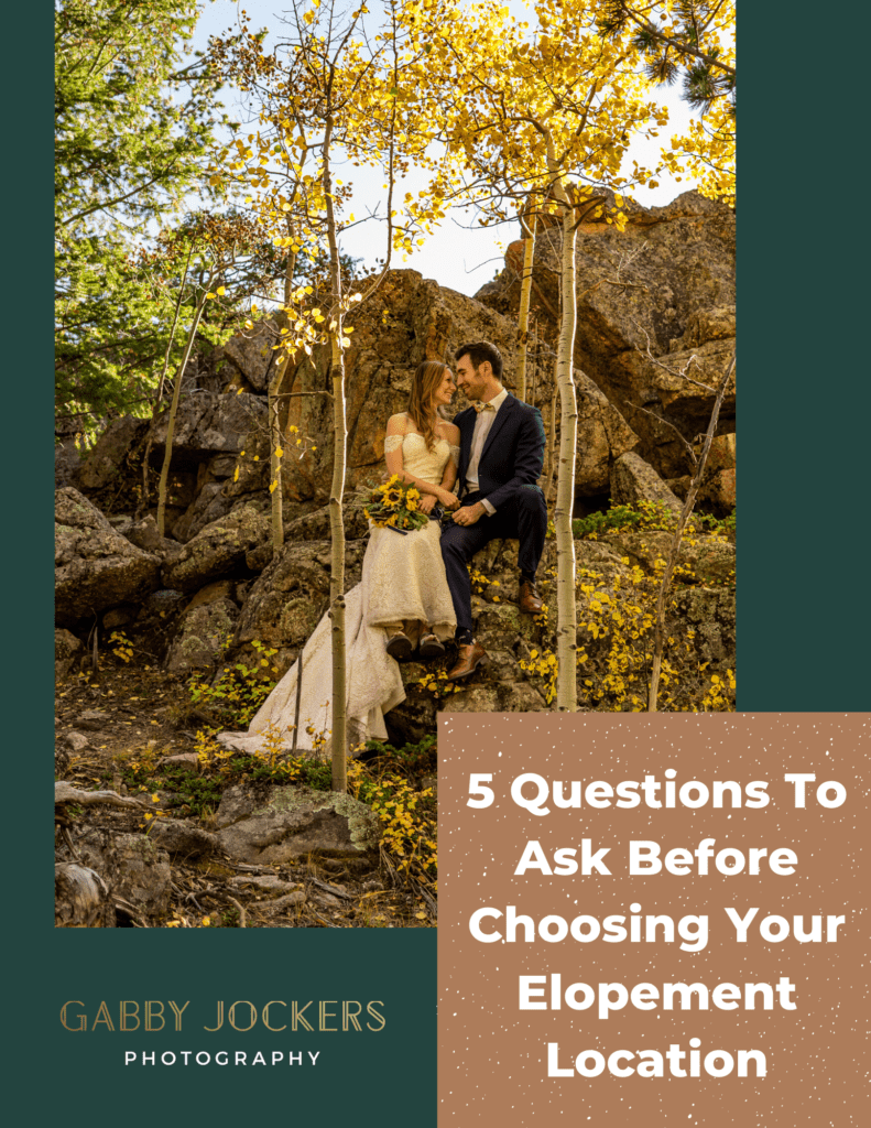 5 Questions to Ask Before Choosing Your Elopement Location - PDF guide cover page with a photo of a young couple in wedding clothes in golden autumn. Gabby Jockers Photography.