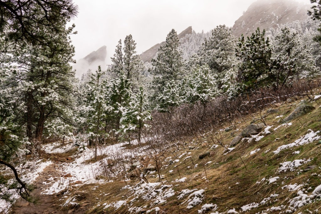 The foggy Flatirons in this Boulder engagement session by Gabby Jockers Photography. boulder engagement photography, boulder engagement photos, boulder engagement session, chautauqua park engagement photos, chautauqua park engagement session, chautauqua park photography, Flatirons engagement photos, snowy engagement photos, snowy engagement session, hiking engagement, adventure photos, adventure session, couples photos