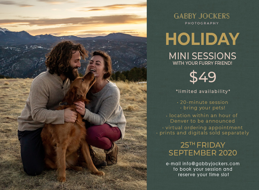 A photo of a young couple with their dog laughing together in front of a mountain sunset. Next to the photo is text information about the holiday sessions (info below this image).
